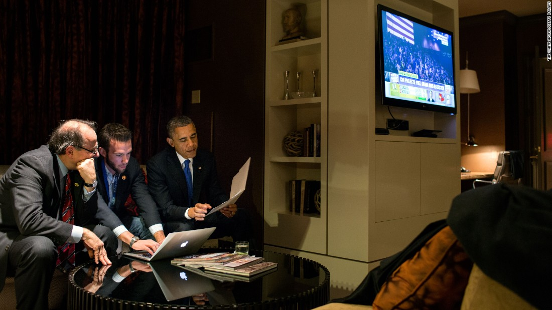 Obama works on an acceptance speech with Axelrod and Director of Speechwriting Jon Favreau, center, on the night of the 2012 election.