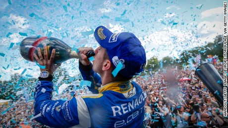 LONDON, UNITED KINGDOM - JULY 3:  In this handout image supplied by Formula E The Podium. Sebastien Buemi (SUI), Renault e.Dams Z.E.15 during the London Formula E race on JULY 3, 2016 in Battersea Park, London, United Kingdom. (Photo by Adam Warner/LAT/Formula E via Getty Images)