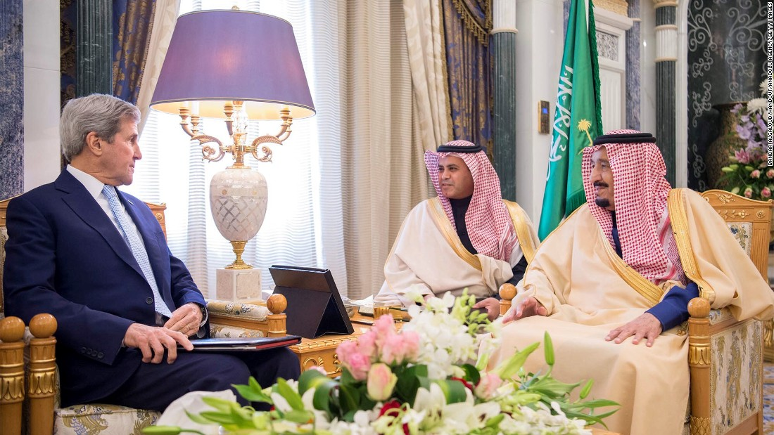 US Secretary of State John Kerry meets with Saudi King Salman, right, in Riyadh, Saudi Arabia, on Sunday, December 18.