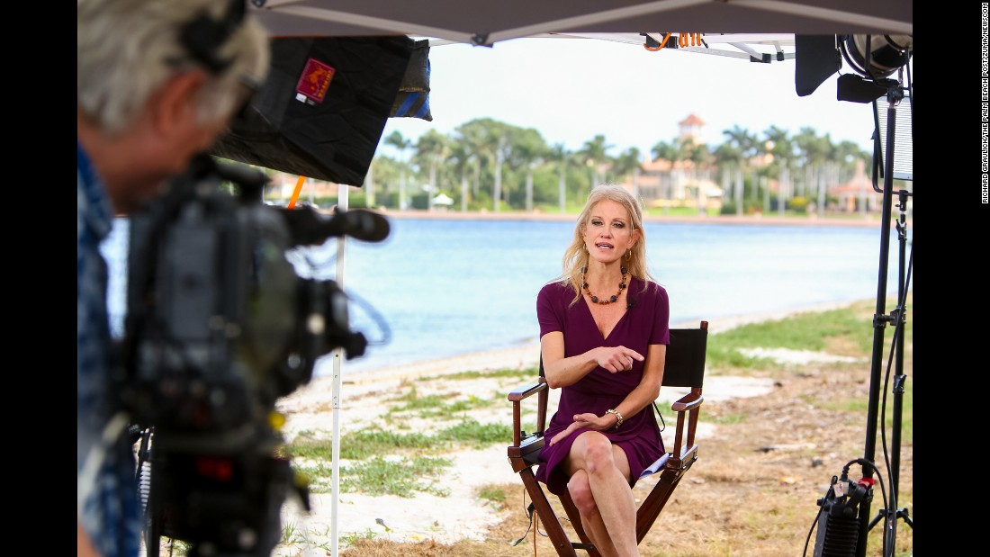 "Kellyanne Conway, a spokeswoman for President-elect Donald Trump, gives an interview outside of Trump's resort in Palm Beach, Florida, on Sunday, December 18. Conway, who was Trump's campaign manager, <a href=""http://www.cnn.com/2016/12/22/politics/donald-trump-kellyanne-conway-counselor/"" target=""_blank"">will work in his administration</a> as ""counselor to the president,"" it was announced on Thursday, December 22."