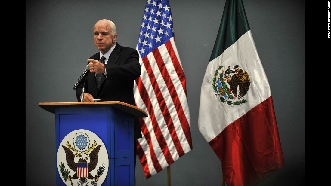 US Sen. John McCain talks to the media while visiting the US Embassy in Mexico City on Tuesday, December 20. He met with Mexico's foreign secretary during his trip.