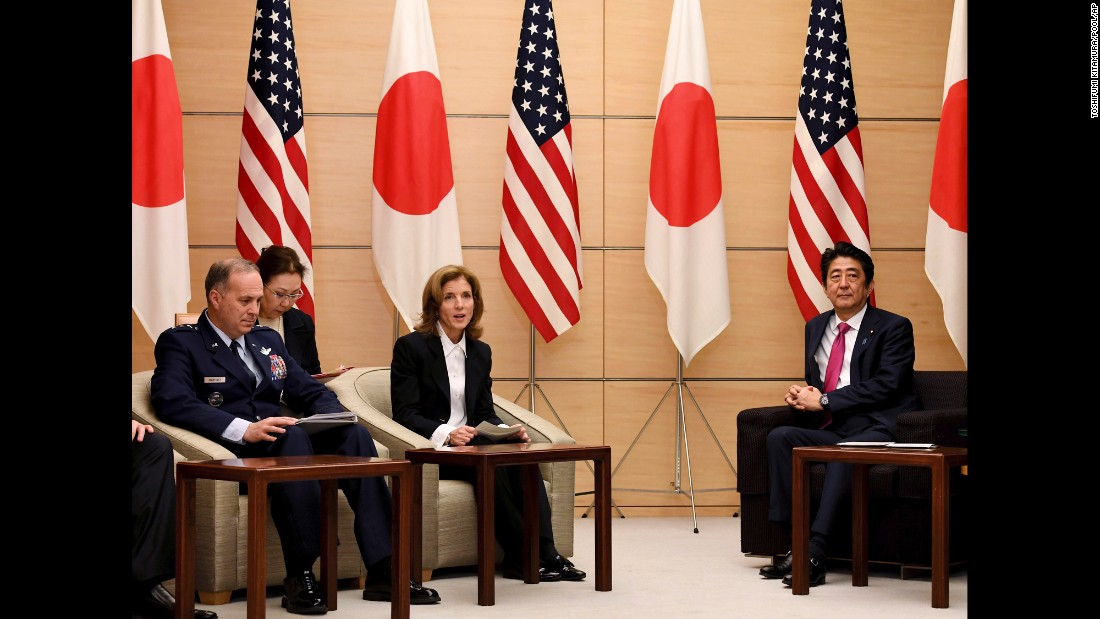 "Caroline Kennedy, the US ambassador to Japan, delivers a speech at the Tokyo residence of Prime Minister Shinzo Abe, right, on Wednesday, December 21. The US military <a href=""http://www.cnn.com/2016/12/21/asia/japan-okinawa-land-handover-us-military/"" target=""_blank"">has handed over 9,909 acres of Okinawan land to Japan</a> in what's been lauded as the largest return of US-occupied land since 1972. In exchange for the land, the Japanese government built several new helipads for the US military to use there."