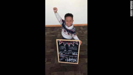 Moments after his adoption, Michael Brown, 3, celebrated in a photo that soon went viral.