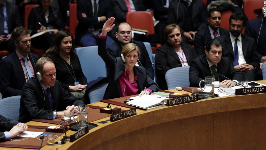 "US Ambassador to the United Nations Samantha Power, center, <a href=""http://www.cnn.com/2016/12/23/politics/israel-official-rips-obama-un-settlements/"" target=""_blank"">votes to abstain on a draft resolution urging an end to Israeli settlement</a> activities in the West Bank, at the UN headquarters in New York, on Friday, December 23."
