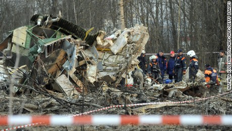 Russian rescuers inspect the wreckage of a Polish government Tupolev Tu-154 aircraft which crashed in April 2010.
