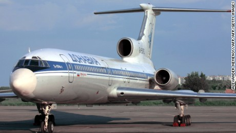 A picture shows a Tupolev-154 (TU-154) aircraft.