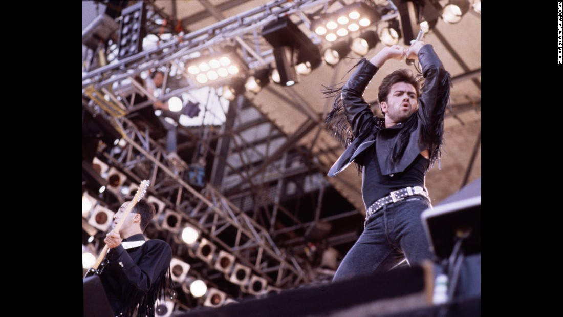 Wham! performs its final show in front of 72,000 fans at London's Wembley Stadium on June 28, 1986. Michael later went on to have a successful solo career.