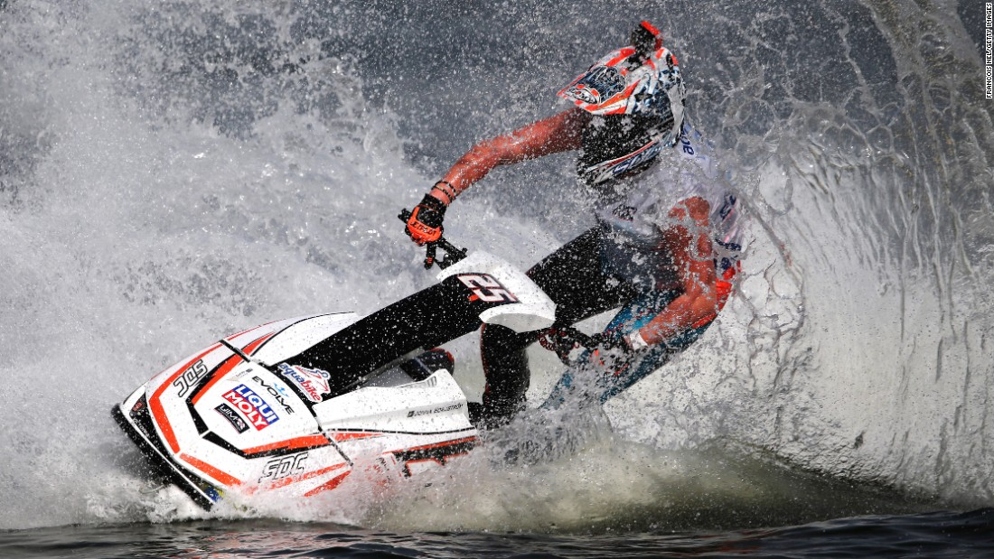 Joanna Borgenstrom races in a final event at the Aquabike Class Pro Circuit World Championships in Sharjah, United Arab Emirates, on Wednesday.