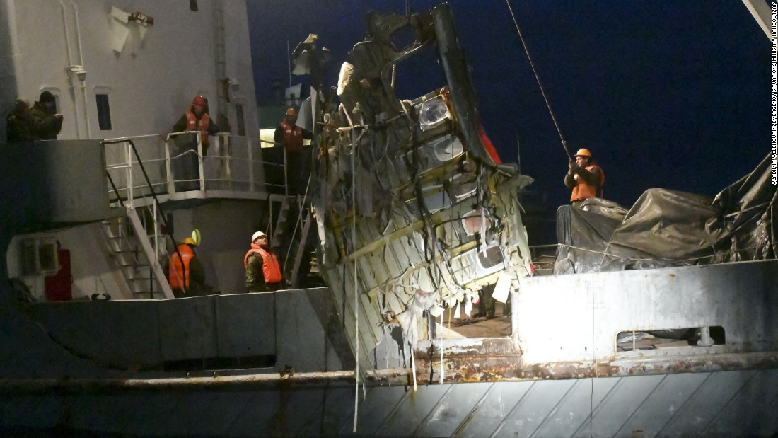 Wreckage from the Tu-154 plane is hauled from the Black Sea late on Monday, December 26.