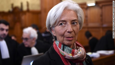 IMF chief Christine Lagarde waits in a courtroom of the Paris courthouse on December 12, 2016 prior to the start of her trial before the Court of Justice of the Republic, a special tribunal used to try ministers. IMF chief Christine Lagarde goes on trial in France on December 12 over a massive state payout to a flamboyant tycoon when she was finance minister in a case that risks tarnishing her stellar career. / AFP / Martin BUREAU        (Photo credit should read MARTIN BUREAU/AFP/Getty Images)