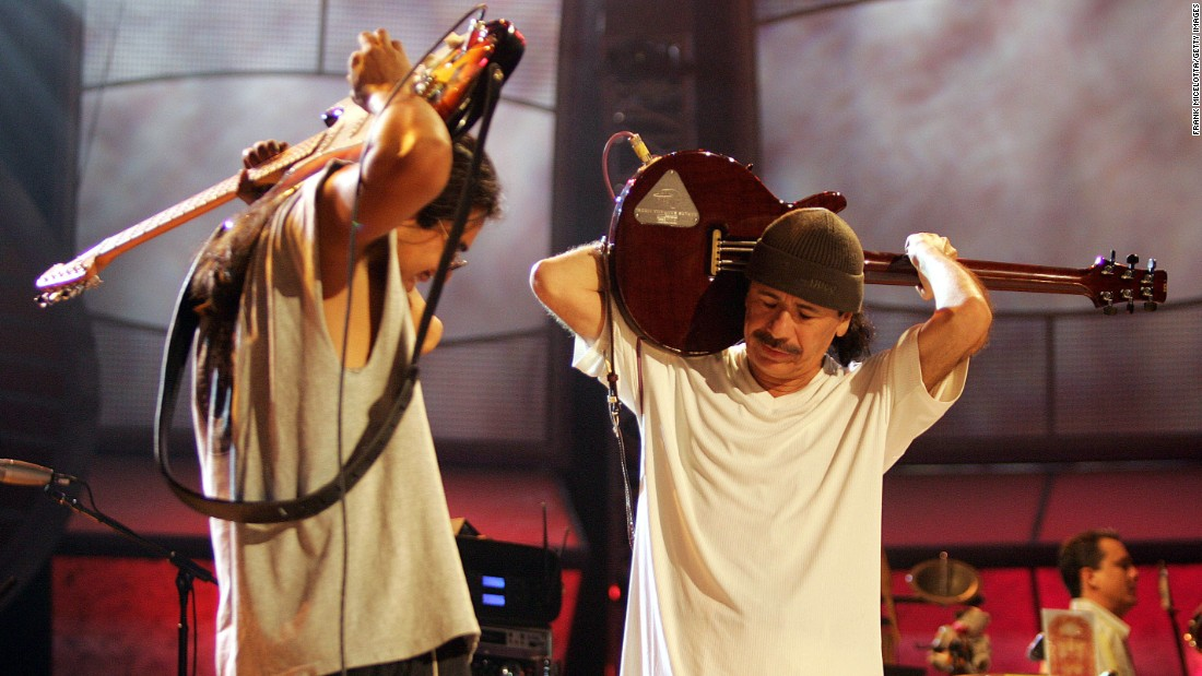 "Carlos Santana (right) formed his band in 1966 and three years later, they were playing the iconic Woodstock music festival and releasing their first album. Early gems included ""Evil Ways,"" ""Black Magic Woman/Gypsy Queen"" and ""Oye Como Va."" The band's classic line up included Gregg Rolie, David Brown, Mike Carabello, Jose Chepito Areas, and Michael Shrieve. In 1999, the band collaborated with Rob Thomas of Matchbox 20, Lauryn Hill and Everlast. Their album ""Supernatural"" resulted in smash hits ""Smooth"" and ""Maria, Maria."" Overall, nationwide, Santana has sold 43.5 million units, according to the RIAA."