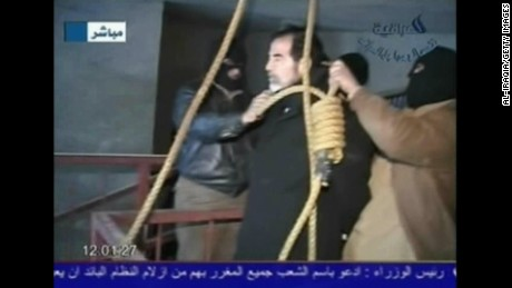 This screen grab taken from Iraqi national television station Al-iraqia shows the moments leading up to the execution of former Iraqi dictator Saddam Hussein on December 30, 2006.