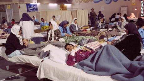 Women in a makeshift hospital in Tehran recover from injuries sustained in the March 1988 chemical-warfare attack on Halabja.