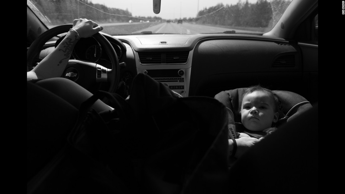 "Although child car seats are usually supposed to be put in the back of a car, Allison drives with Sky up front so she can monitor her daughter's color and breathing. ""It's the lesser of two evils,"" she told Adams."