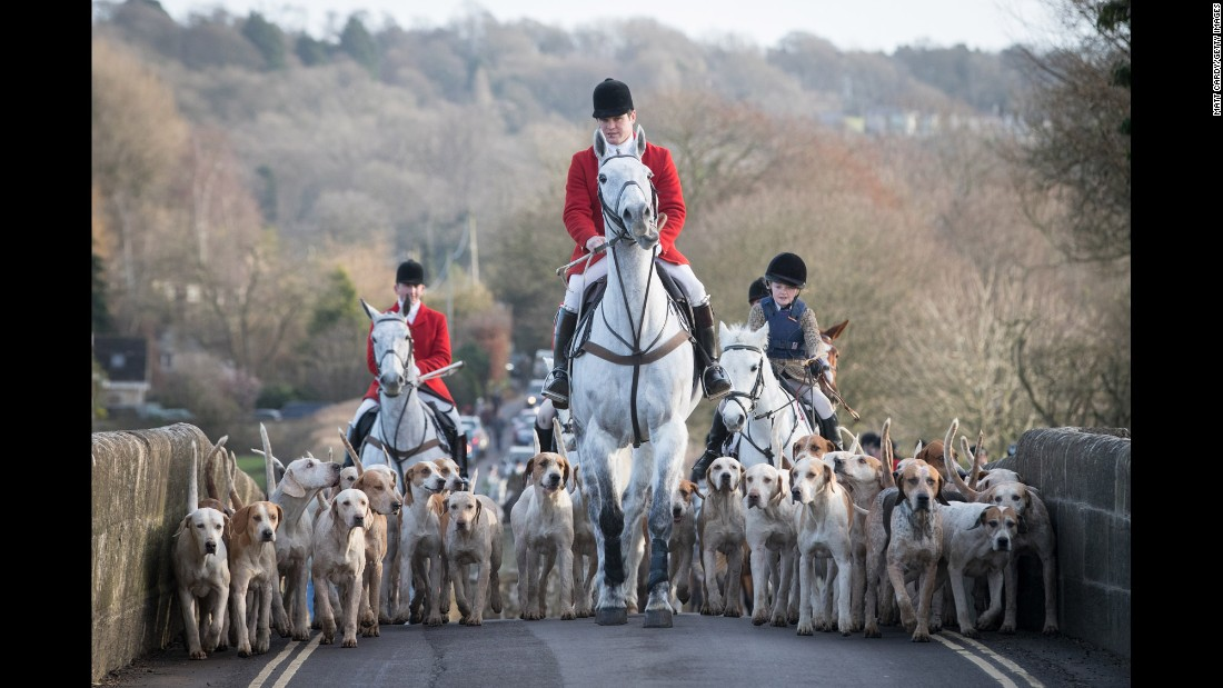 Joint master and huntsman Stuart Radbourn leads riders that have arrived for the Avon Vale Hunt's traditional Boxing Day meet Monday, December 26, in Wiltshire, England. Boxing Day is traditionally the biggest day on the hunt calendar.