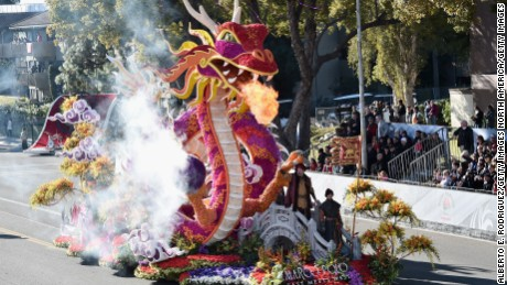 PASADENA, CA - JANUARY 01:  The Singpoli Group float participates in the 127th Tournament of Roses Parade presented by Honda on January 1, 2016 in Pasadena, California.  (Photo by Alberto E. Rodriguez/Getty Images)