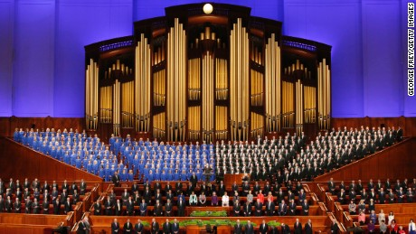 SALT LAKE CITY, UT - APRIL 2: The Mormon Tabernacle Choir and church leaders sing together in the Conference Center during the 186th Annual General Conference of the Church of Jesus Christ of Latter-Day Saints on April 2, 2016 in Salt Lake City, Utah. Mormons from around the world will gather in Salt Lake City to hear direction from church leaders at the two day conference. (Photo by George Frey/Getty Images
