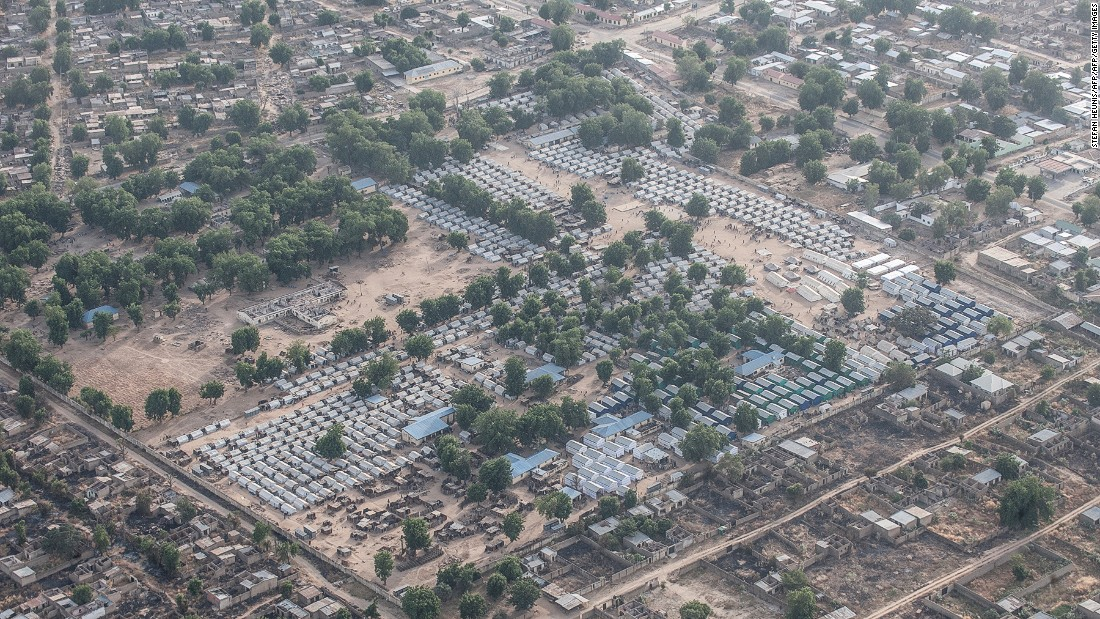 Nigeria tops the list of African countries, with 737,000 uprooted in 2015 alone due to conflict. Many of the displaced live in camps together with tens of thousands of other people. Pictured: One of the camps in Bama, Nigeria in December 2016.