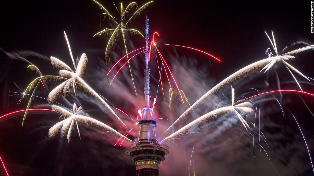 The Sky Tower is seen among fireworks during New Year's Eve celebrations in Auckland, New Zealand.