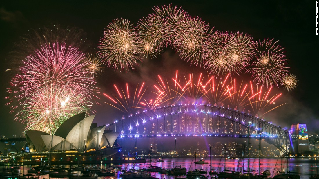 Fireworks explode over the Sydney Harbour Bridge and the Sydney Opera House as the arrival of 2017 is celebrated in Australia.