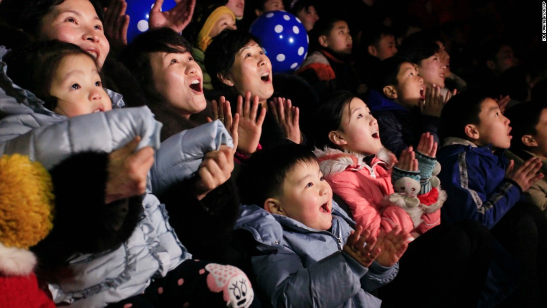 North Koreans watch a fireworks display at the Kim Il Sung Square in Pyongyang, North Korea.