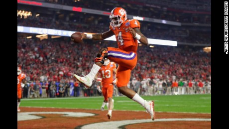 Clemson quarterback Deshaun Watson reacts after scoring a third quarter touchdown during the Fiesta Bowl against Ohio State.