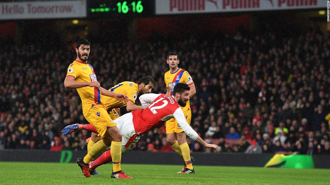 "Giroud's manager Arsene Wenger described his effort as a work of art. <br />""It was an exceptional goal, because it was at the end of a fantastic collective movement ..."" Wenger said.<br />""After that, it was a reflex. Any goal-scorer is ready to take any part of his body, even if it's the little toe, to score a goal and Olivier had that kind of reflex. He transformed that goal, I would say, into art."""