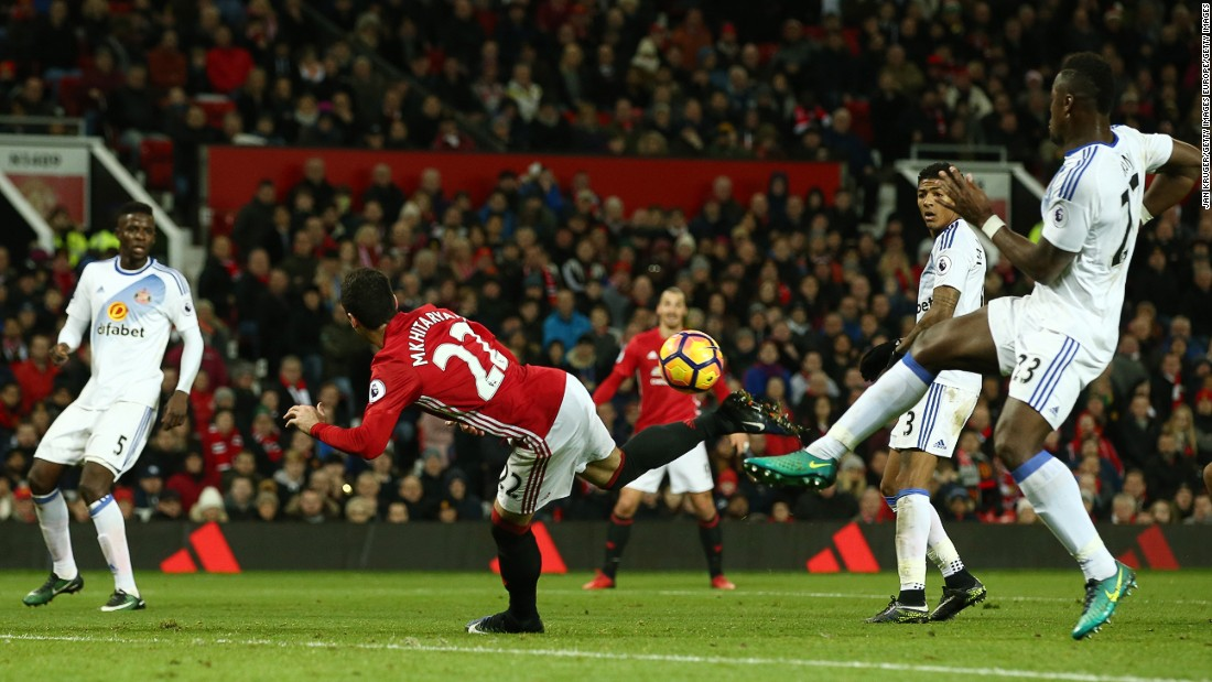 The Arsenal striker's goal comes hot on the heels of a similar strike by Manchester United's Henrikh Mkhitaryan in its win over Sunderland on December 26.