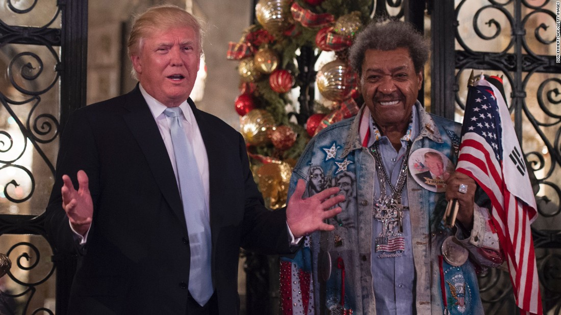 "Trump stands with legendary boxing promoter Don King after meeting at Trump's Mar-a-Lago resort in Palm Beach, Florida, on Wednesday, December 28. Trump and King <a href=""http://www.cnn.com/2016/12/29/politics/don-king-donald-trump-meeting-peace/index.html"" target=""_blank"">met to discuss</a> the relationship between Israel and the United States."