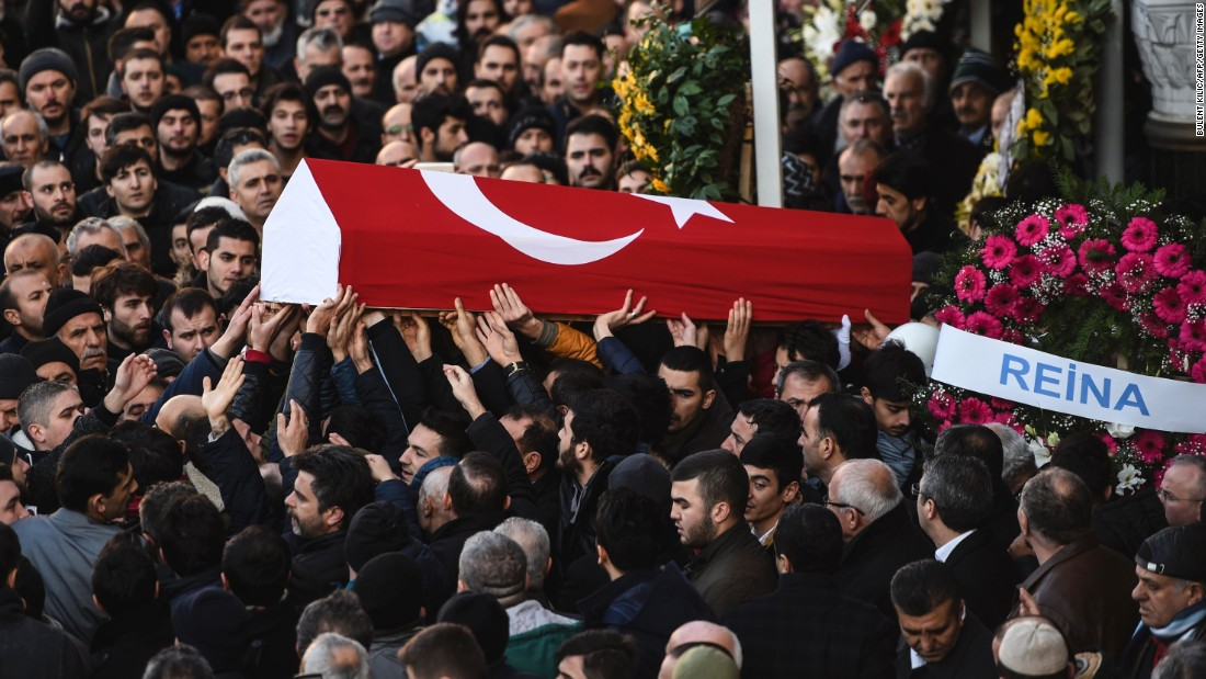 People carry the coffin of Yunus Gormek, a victim of the attack, during a funeral ceremony in Istanbul on January 2.