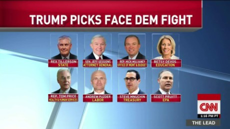Dems vow confirmation fight for 8 Trump cabinet picks