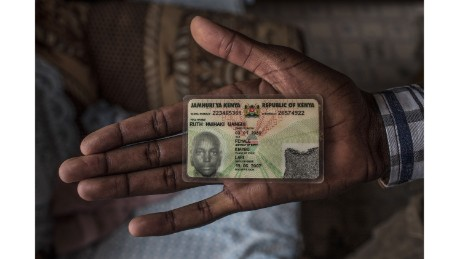 Muiruri shows his state-issued identification card which reflects his former identity, and lists his sex as female.