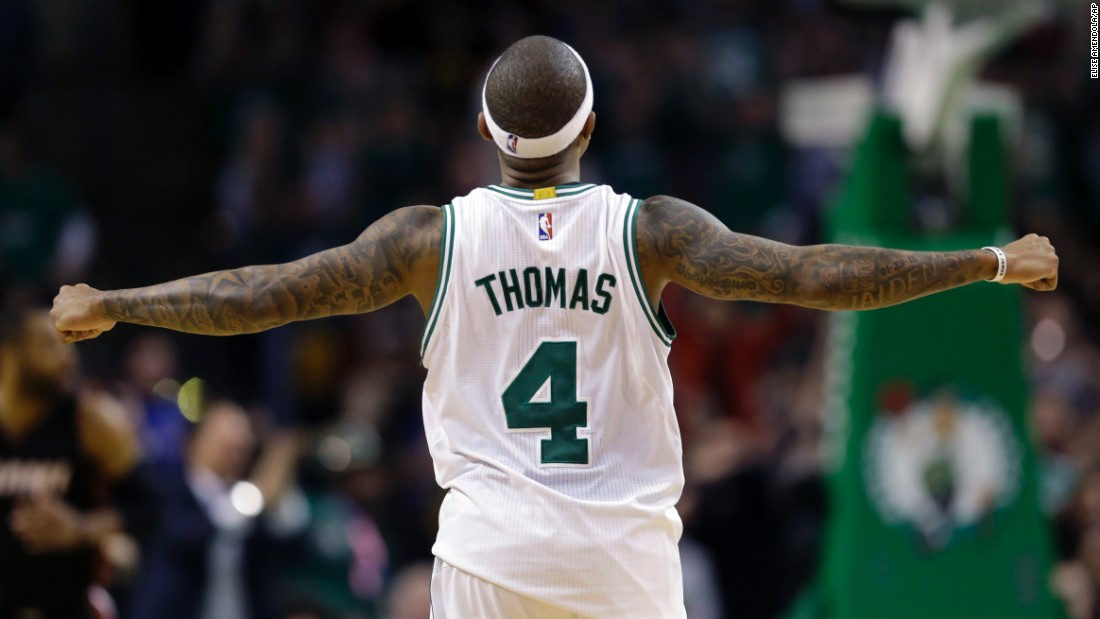 Boston guard Isaiah Thomas celebrates during a home win against Miami on Friday, December 30. He scored a career-high 52 points in the Celtics' victory.