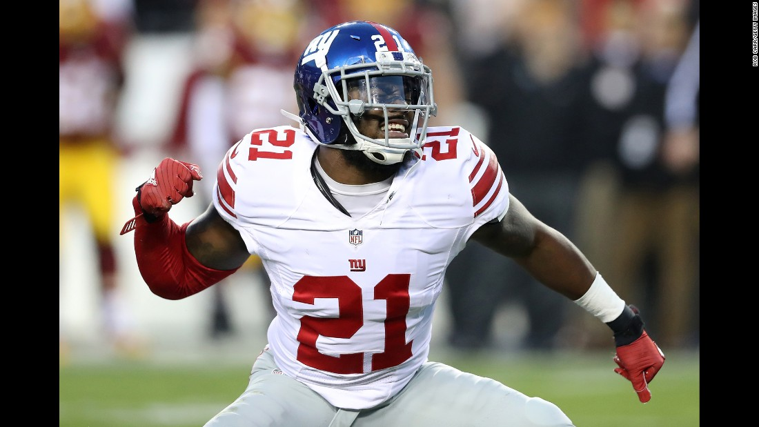 Landon Collins, a safety with the New York Giants, celebrates after sacking Washington quarterback Kirk Cousins on Sunday, January 1. The Giants won 19-10 and prevented the Redskins from making the playoffs.