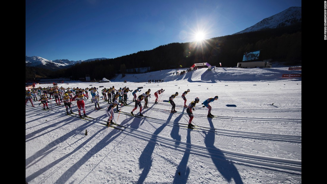 Cross-country skiers race in Val Mustair, Switzerland, on Sunday, January 1.