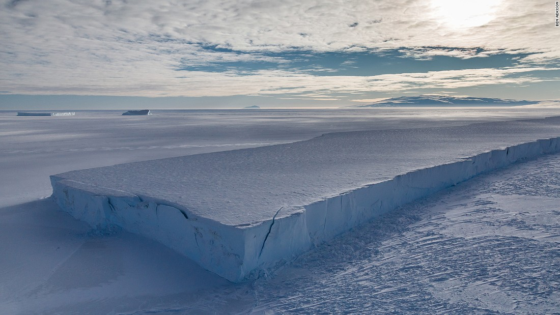 <strong>Icebergs: </strong>Icebergs are pieces of freshwater ice that break away from a glacier or ice shelf. While often seen by cruise ship travelers further north of McMurdo Sound, the pictured icebergs are grounded and held in by the sea ice. This one is four miles long and has been in the same spot for years.