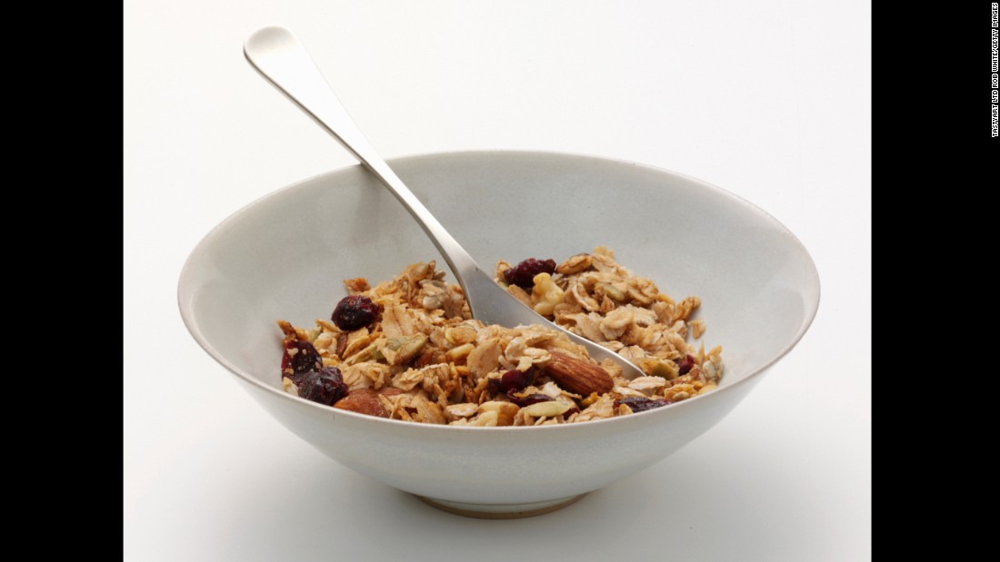 Granola contains healthy ingredients such as oats, nuts and dried fruit, and it can serve as a tasty topping to yogurt or cereal. But since it can pack up to 600 calories per cup (thanks to sugar and other ingredient treats), it's important to sprinkle, not pour.