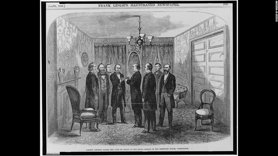 After the assassination of President Abraham Lincoln, Vice President Andrew Johnson assumed the presidency in a Washington hotel in 1865.