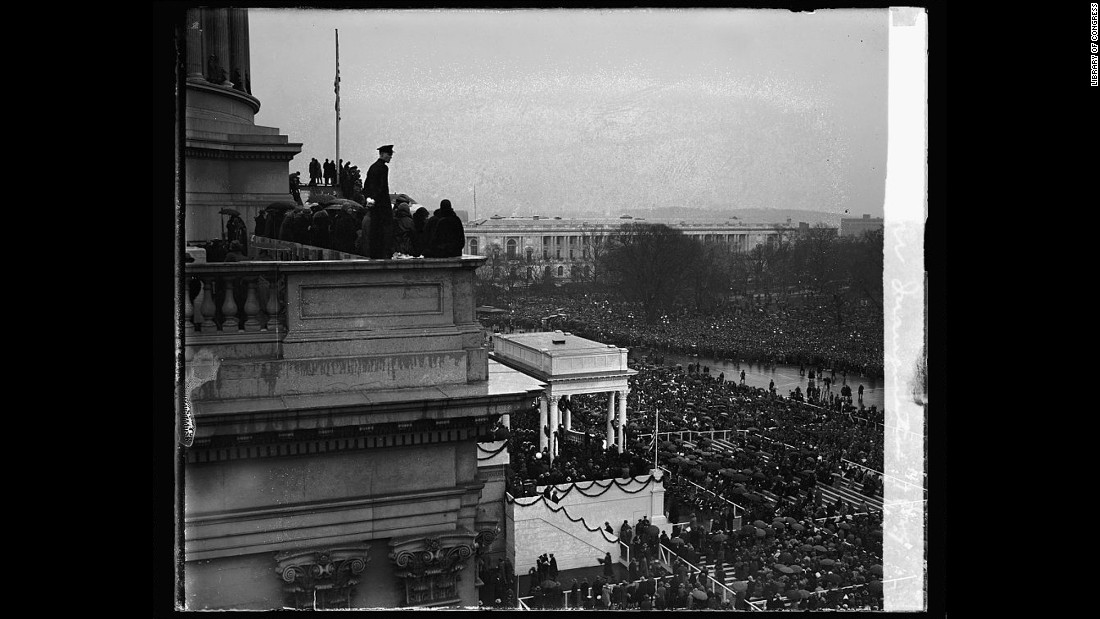 People attend the inauguration of Herbert Hoover in 1929. Later that year, a stock market crash led to the Great Depression.