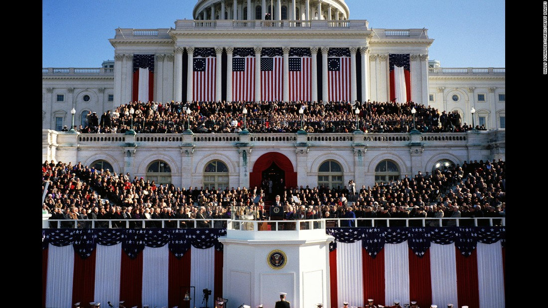 Bill Clinton addresses the crowd at the US Capitol after being inaugurated in 1993. He was re-elected in 1996.