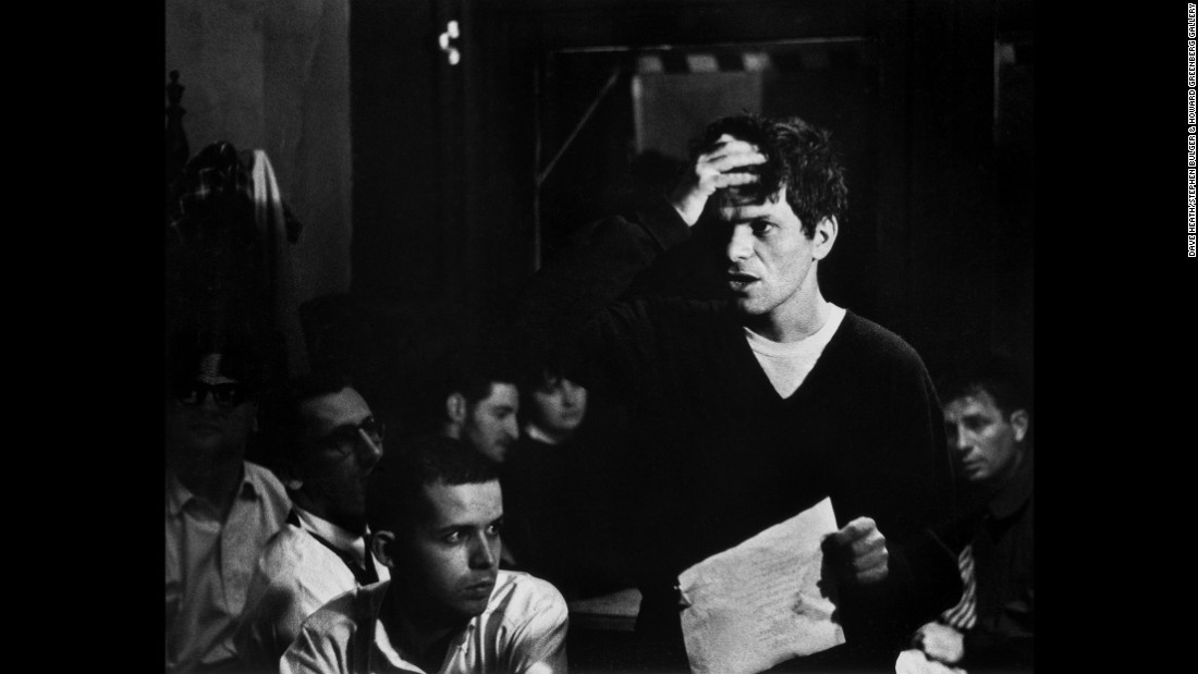 Poet Gregory Corso, standing, was a prominent member of the Beat Generation, as was novelist Jack Kerouac, seen at right.