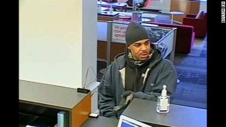 Surveillance photo of bank robber in Cambridge, Massachusetts, on Thursday