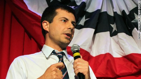 Mayor Peter Buttigieg of South Bend, Indiana, talks about Republican Vice-presidential candidate Mike Pence in front of potential voters at a Hillary Clinton debate watching party for the LGBT community in Chicago, Illinois on September 26, 2016.