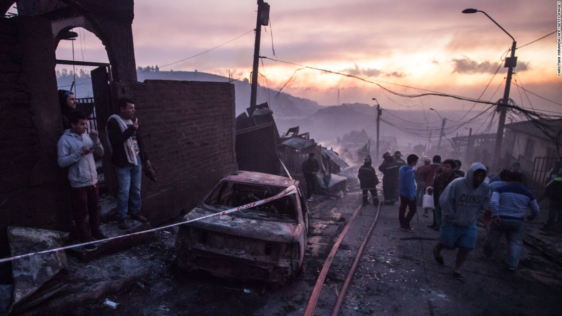 A wildfire in Valparaiso, Chile, damaged homes and forced evacuations on Monday, January 2.