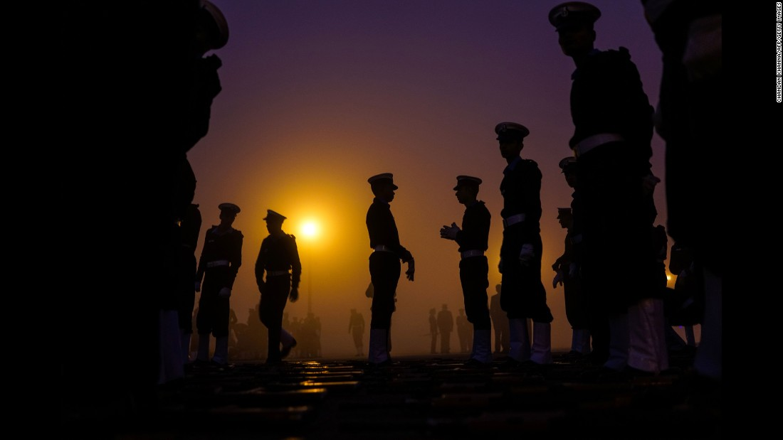 Indian military personnel prepare for a rehearsal march in New Delhi on Tuesday, January 3. India will celebrate its Republic Day with a large military parade later this month.