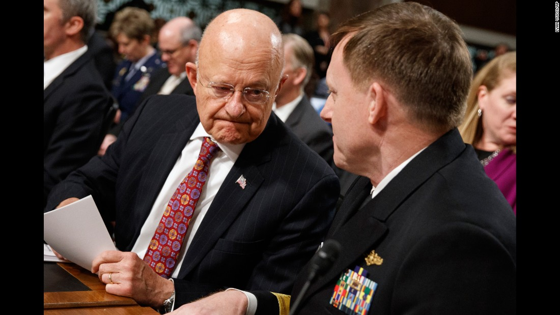 "Director of National Intelligence James Clapper, left, talks with Navy Adm. Michael Rogers, director of the National Security Agency, before testifying before the Senate Armed Services Committee on Thursday, January 5. <a href=""http://www.cnn.com/2017/01/05/politics/russian-hacking-hearing-senate-republicans/"" target=""_blank"">A hearing on global cyberthreats</a> focused almost exclusively on Moscow's alleged hacking during the presidential election."