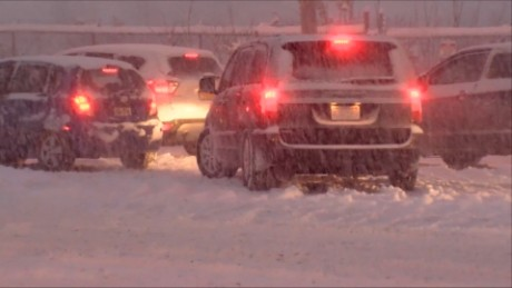 Traffic across Buffalo, New York came to a standstill as lake-effect snow clogged the city's roadways.