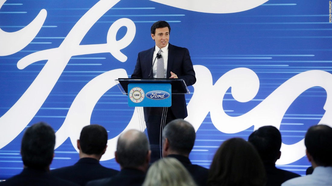 "Ford President and Chief Executive Mark Fields addresses the crowd on Tuesday, January 3, in Flat Rock, Michigan. Ford is canceling plans to build a $1.6 billion factory in Mexico and will invest $700 million in a Michigan plant to build new electric and autonomous vehicles. <a href=""http://money.cnn.com/video/news/2017/01/03/ford-ceo-mark-fields-us-expansion-mexico-trump.cnnmoney/"" target=""_blank"">The factory will produce 700 new jobs.</a>"