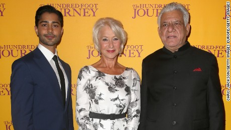 "Om Puri, right, at a UK screening of ""The Hundred-Foot Journey"" with Helen Mirren and Manish Dayal."