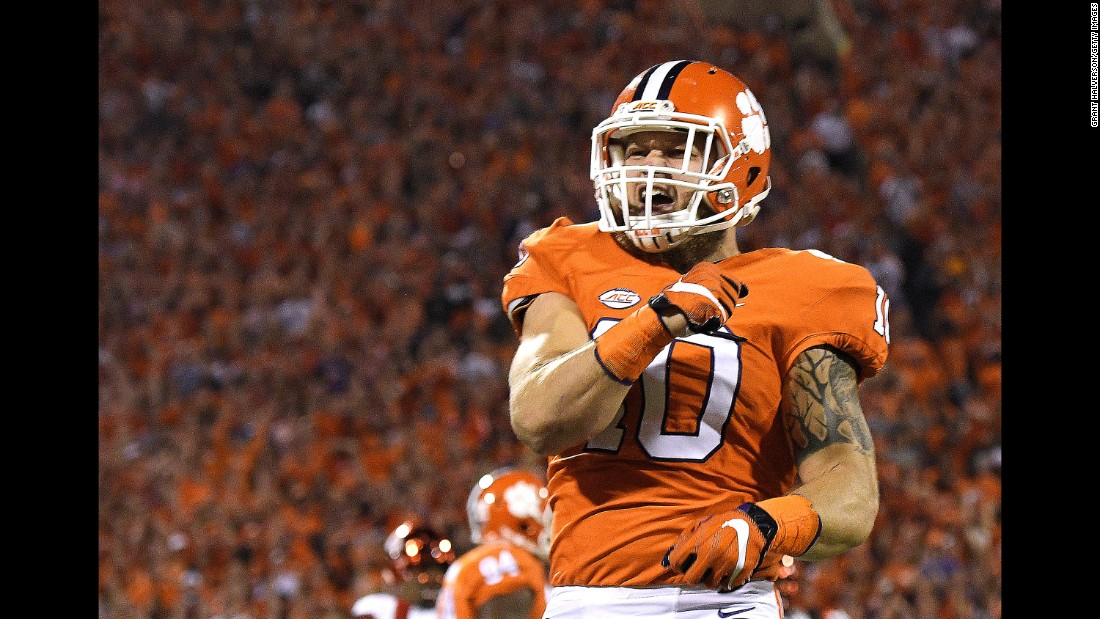 Clemson linebacker Ben Boulware rejoices after a sack against the Louisville Cardinals on October 1 in Clemson.